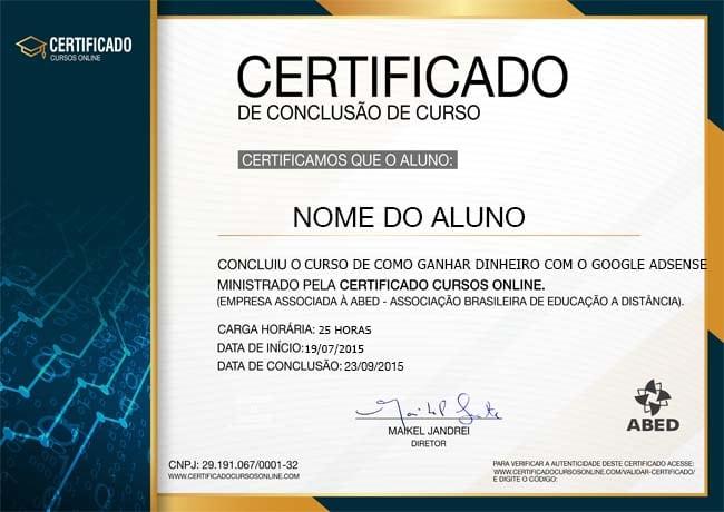 CERTIFICADO DO CURSO DE COMO GANHAR DINHEIRO COM O GOOGLE ADSENSE