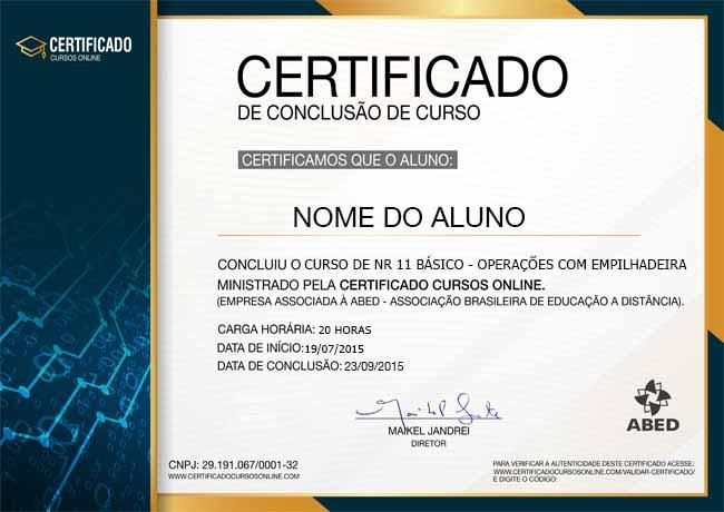 CERTIFICADO DO CURSO DE NR 11 BÁSICO - OPERAÇÕES COM EMPILHADEIRA