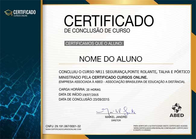 CERTIFICADO DO CURSO NR11 SEGURANÇA NAS OPERAÇÕES COM PONTE ROLANTE, TALHA E PÓRTICO