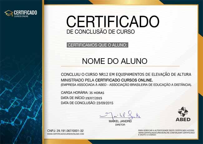 CERTIFICADO DO CURSO NR12 SEGURANÇA NO TRABALHO EM EQUIPAMENTOS DE ELEVAÇÃO DE ALTURA