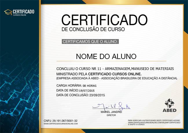 Certificado do Curso de NR 11 Básico - Armazenagem e Manuseio Manual de Materiais
