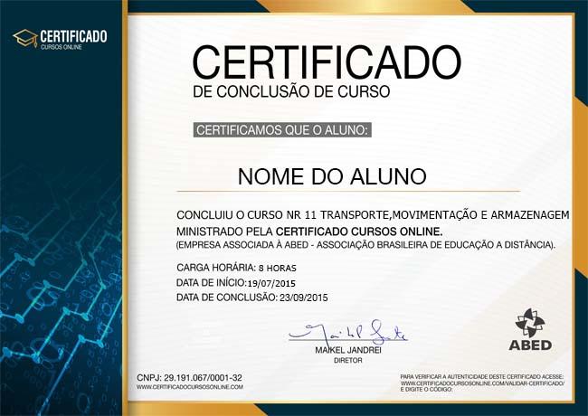 Certificado do Curso de NR 11 Básico - Transporte, Movimentação, Armazenagem e Manuseio de Materiais