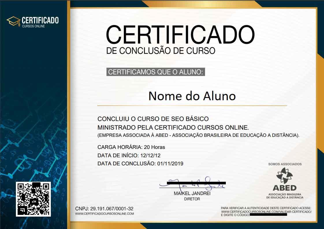 Frente certificado de conclusão de curso