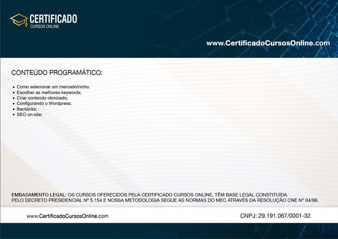 Verso certificado de conclusão de curso